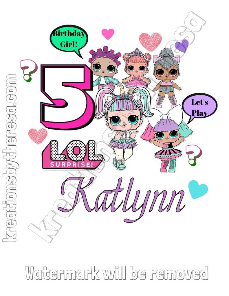 LOL Surprise Iron On Transfer Design | Birthday Girl /Unicorn Girl and Friends