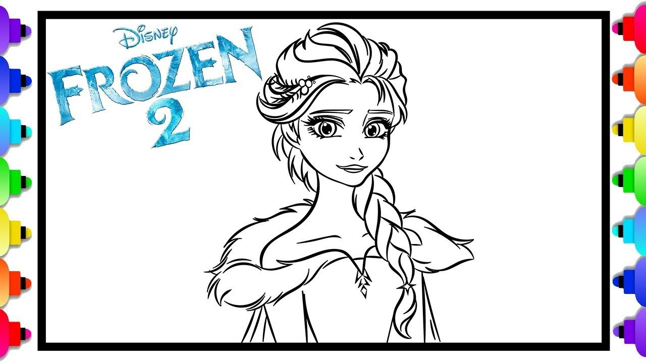 How To Draw Elsa From Disney S Frozen 2 Frozen 2 Coloring