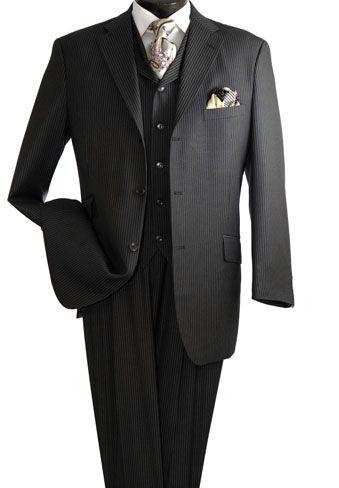 Vittorio St. Angelo Men's 3 Piece Fashion Suit - Pencil Stripe and Wide Leg Pants - Clothing Connection Online