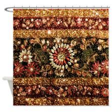 Beaded Indian Saree Photo Shower Curtain