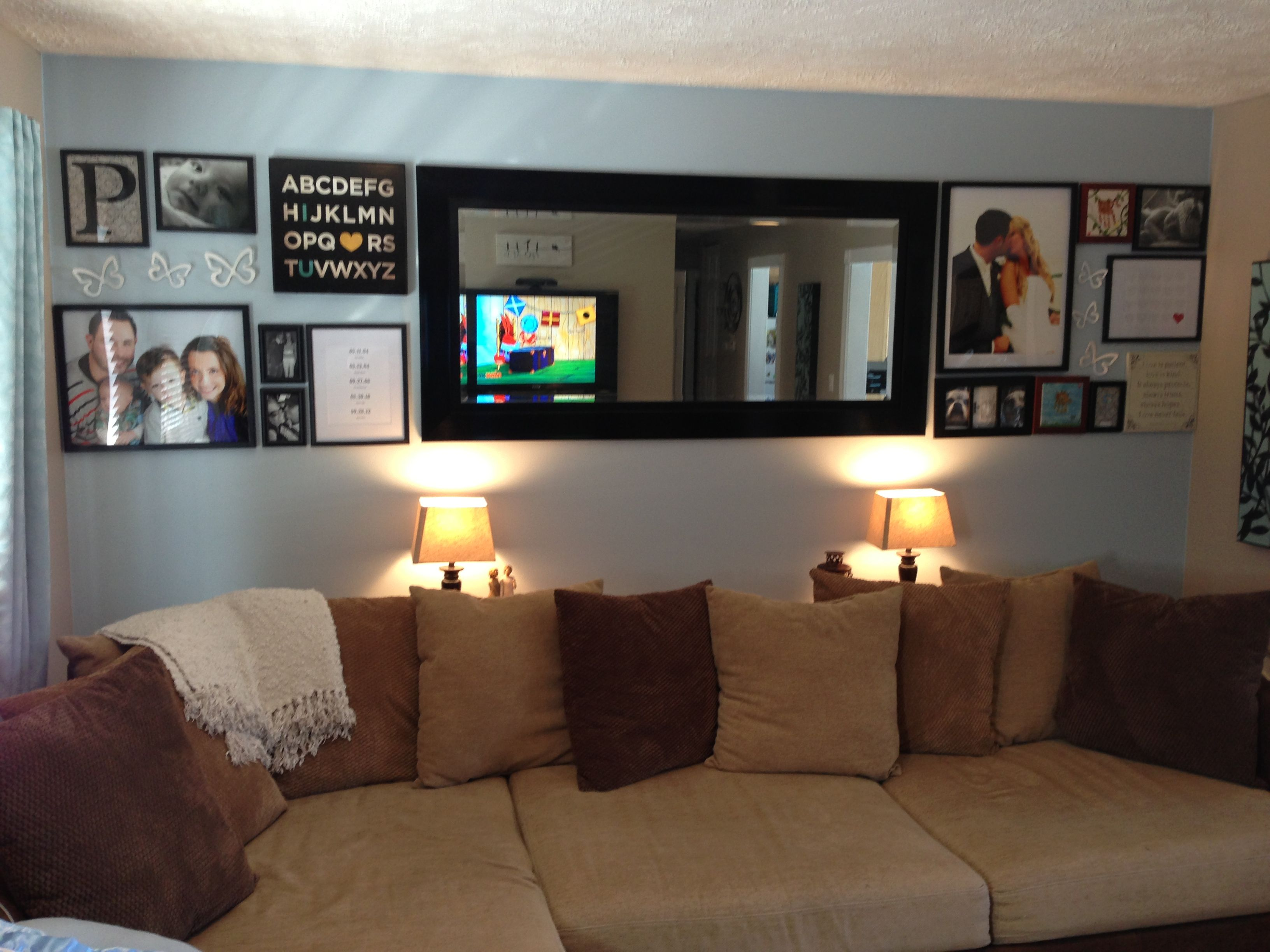 Living room wall photo collage for our home diy home decor home buying living room designs - Wall collage ideas living room ...