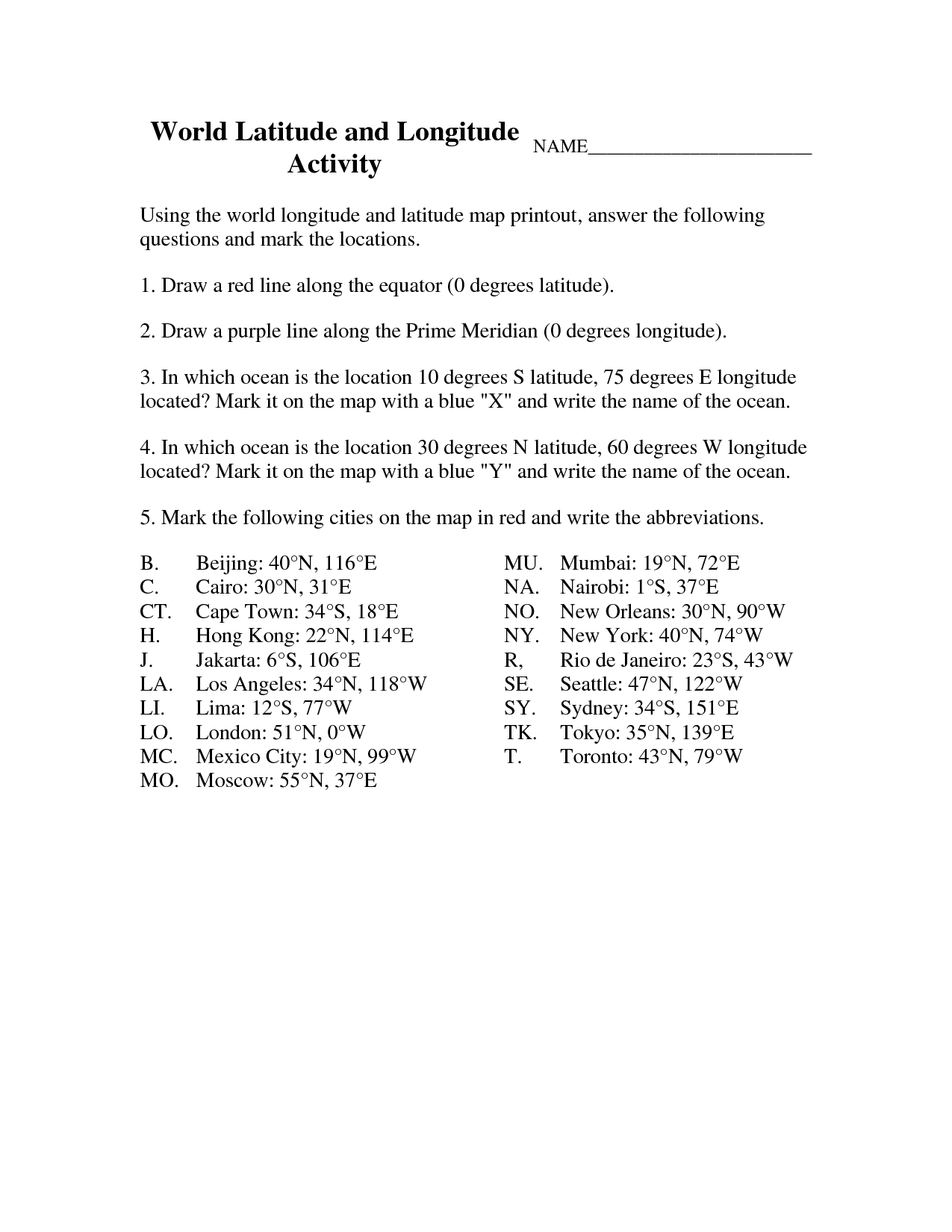 medium resolution of Latitude And Longitude Elementary Worksheets   World Latitude And    Elementary worksheets