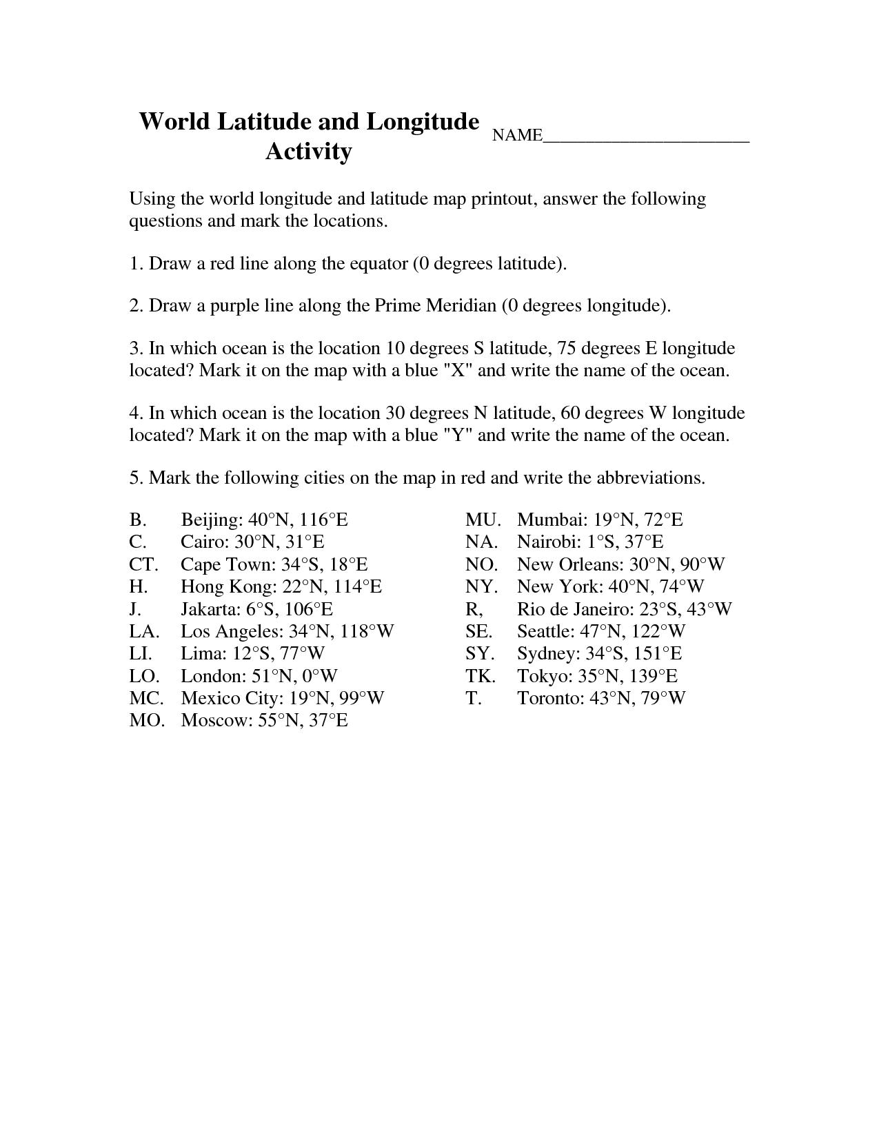 Latitude And Longitude Elementary Worksheets   World Latitude And    Elementary worksheets [ 1650 x 1275 Pixel ]
