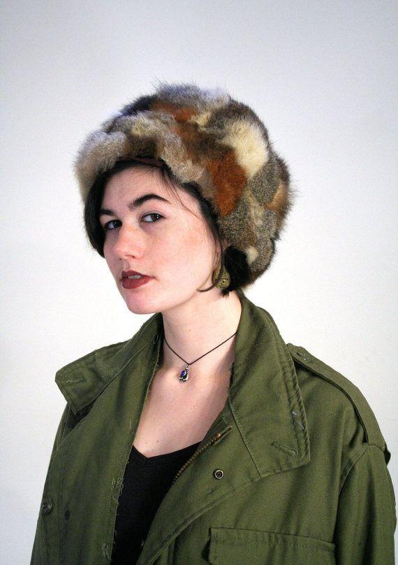 6969965db 70s Mod Fur Hat, Vintage Patchwork Tan Gray Soft Rabbit Siberian ...