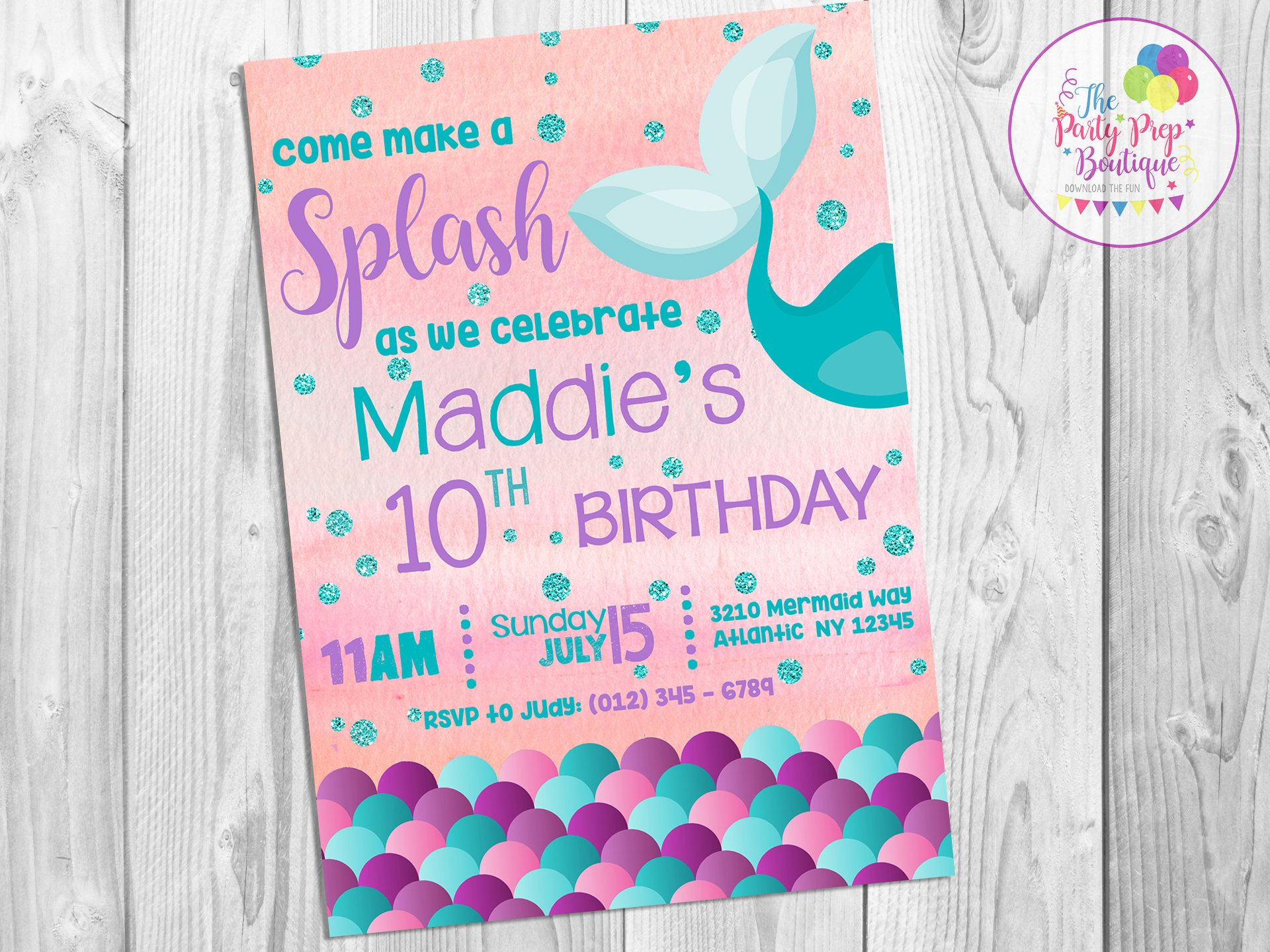 Mermaid Invitation Digital Birthday Party S Tail Printable By Thepartyprepboutique