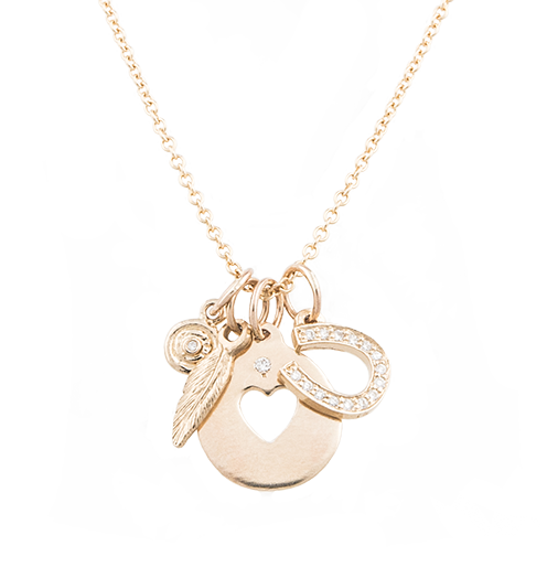 14k Yellow Gold Good Luck Horseshoe Clover Pendant Charm Necklace Fine Jewelry Gifts For Women For Her