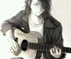Anime guy with a guitar. I swear why can't guys look like this in real life>o