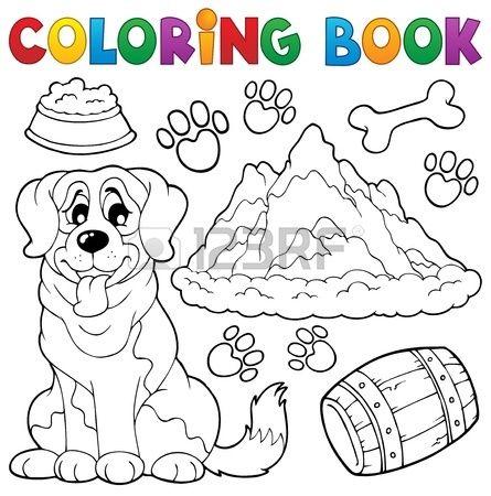 Libro para colorear. Perro, huellas y más. Foto de archivo. Coloring ...