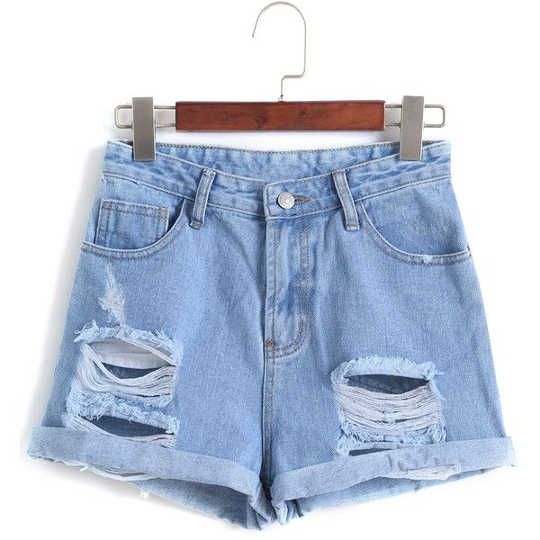 cb4e1f9530 Romwe Ripped Cuffed Denim Pale Blue Shorts ($14) ❤ liked on Polyvore  featuring shorts, bottoms, blue, torn shorts, destroyed shorts, ripped  shorts, ...