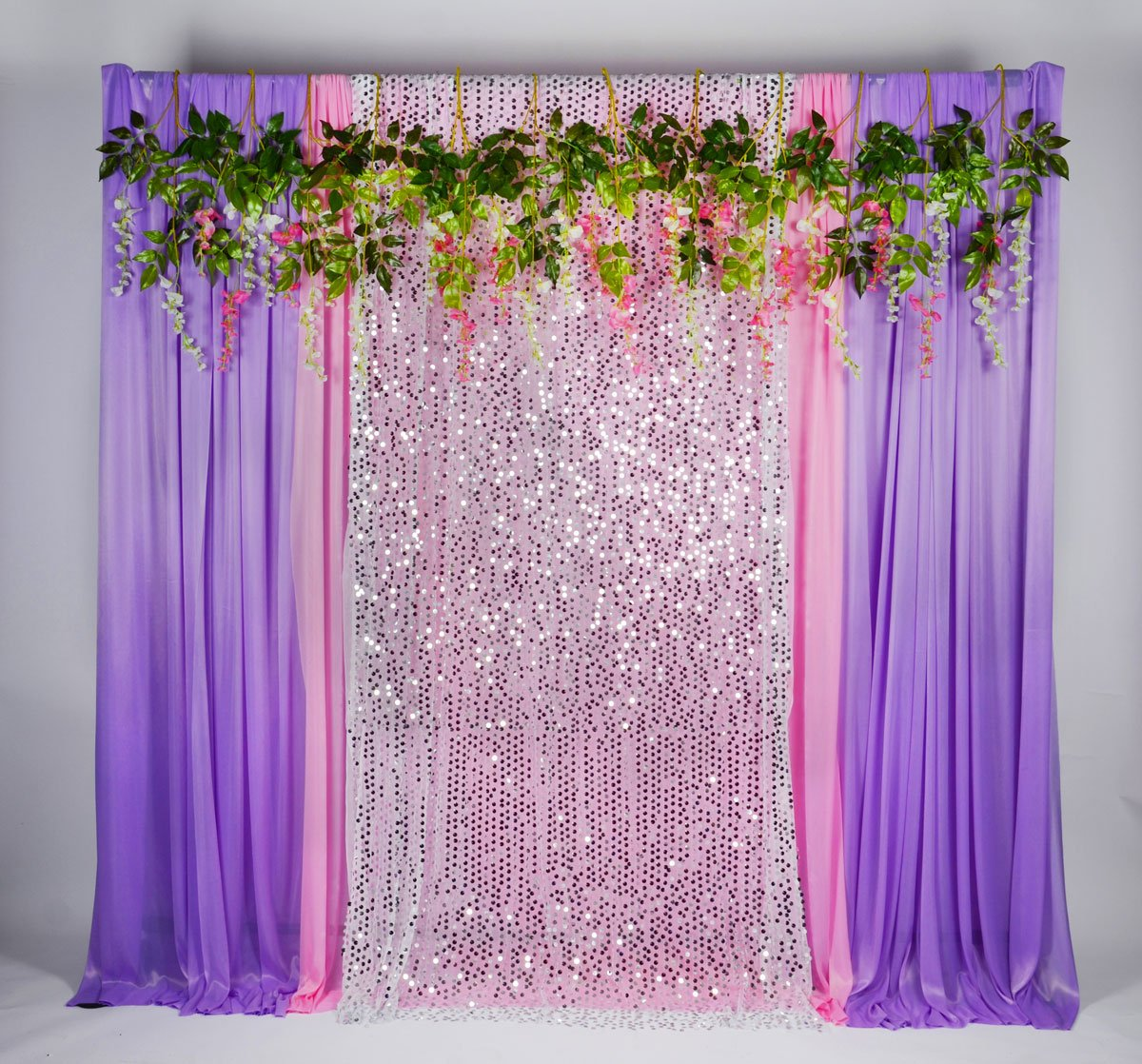 Pink Sequin Curtains Kate 5x16ft Purple Pink With Silver Glitter Ice Silk Background