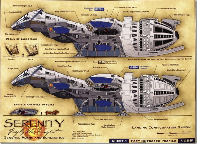 serenity firefly class transport general plans and schematics rh pinterest com Firefly Serenity Deck Plans serenity ship schematics