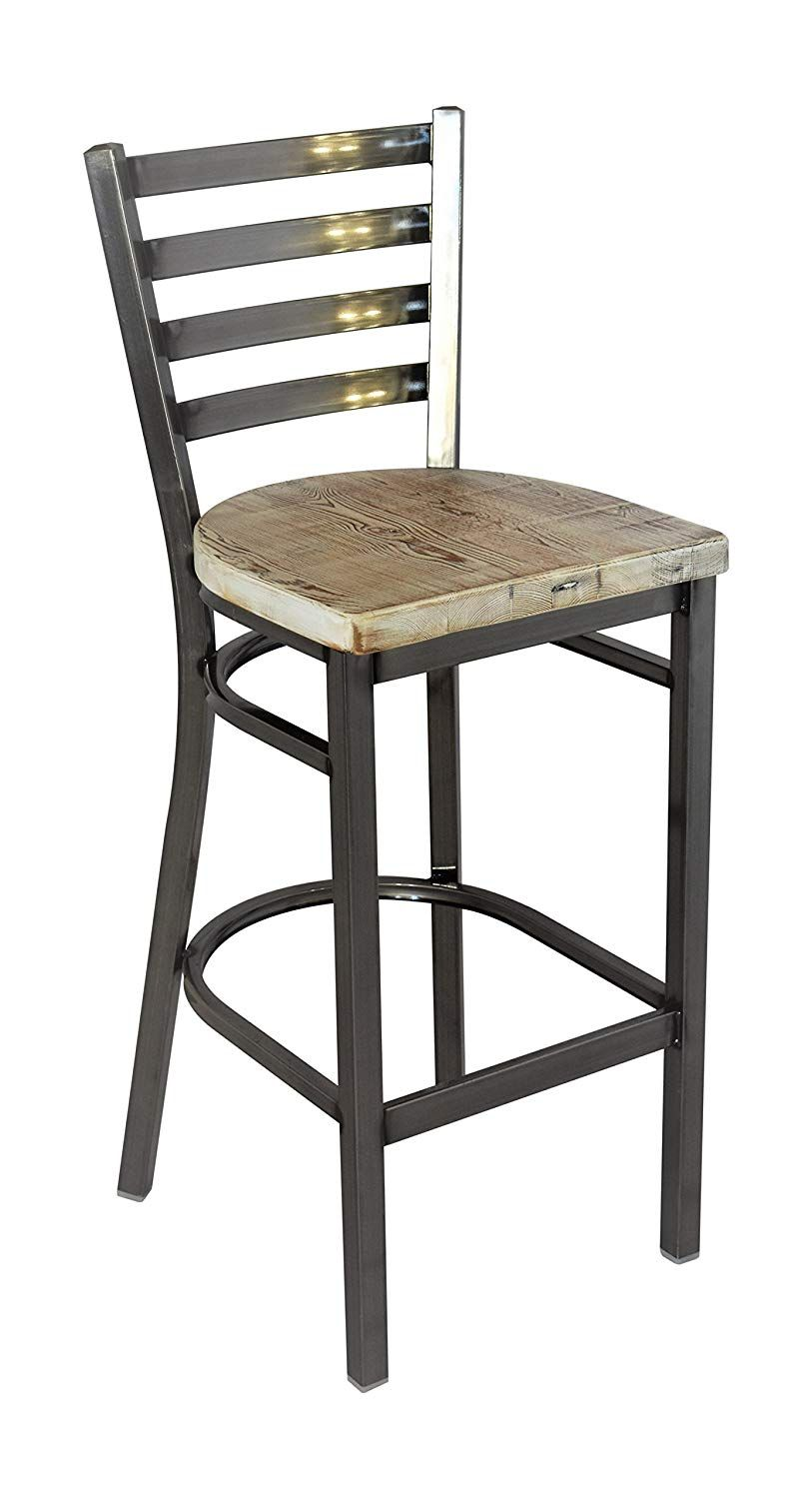 Reclaimed Wood Seat Bar Stool With Ladder Back Metal Frame