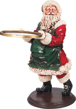 Santa Waiter With Serving Tray Statue Christmas Decor 3ft