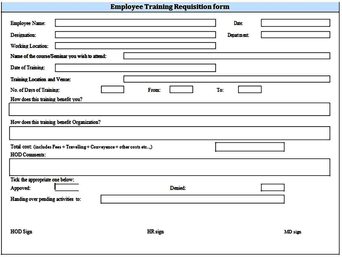 Sample Requisition Form Example