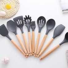 9 High Quality Cooking Tools With Wooden Handle Silicone Heat-resistant Set Premium Special Kitchen Ware Cooking Tools