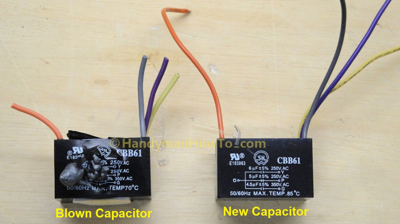 Ceiling Fan Motor Capacitor Cbb61 Blown And New Unit