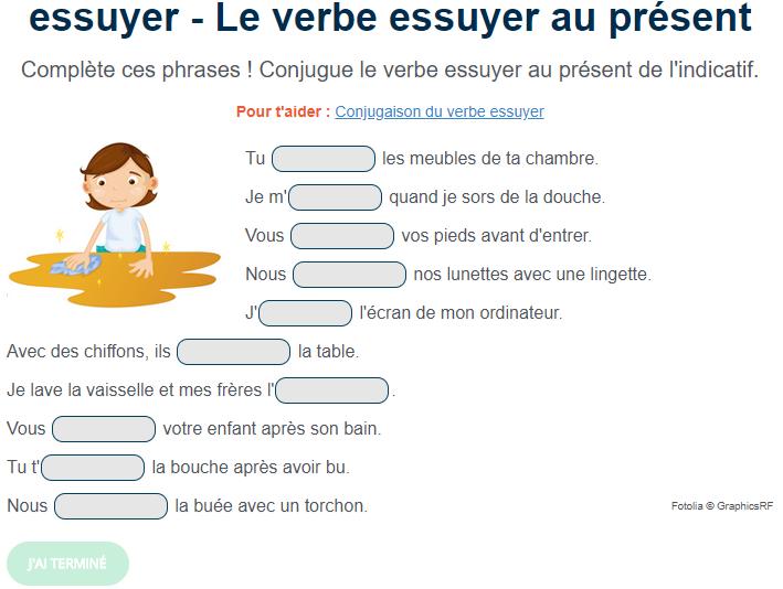 Exercice De Conjugaison Le Verbe Essuyer Au Present Exercice De Francais Cm1 Exercices Conjugaison Exercice Francais