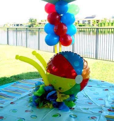 Beach Ball Party Decorations Beach Ball Theme Baby Shower  Beach Ball Centerpiecemetallic