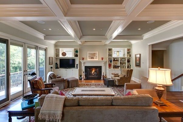 Coffered Ceiling Built Ins Flanking Fireplace Furniture