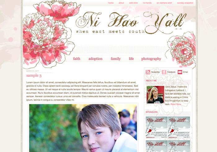 Ni Hao Yall- Custom Wordpress Blog Design