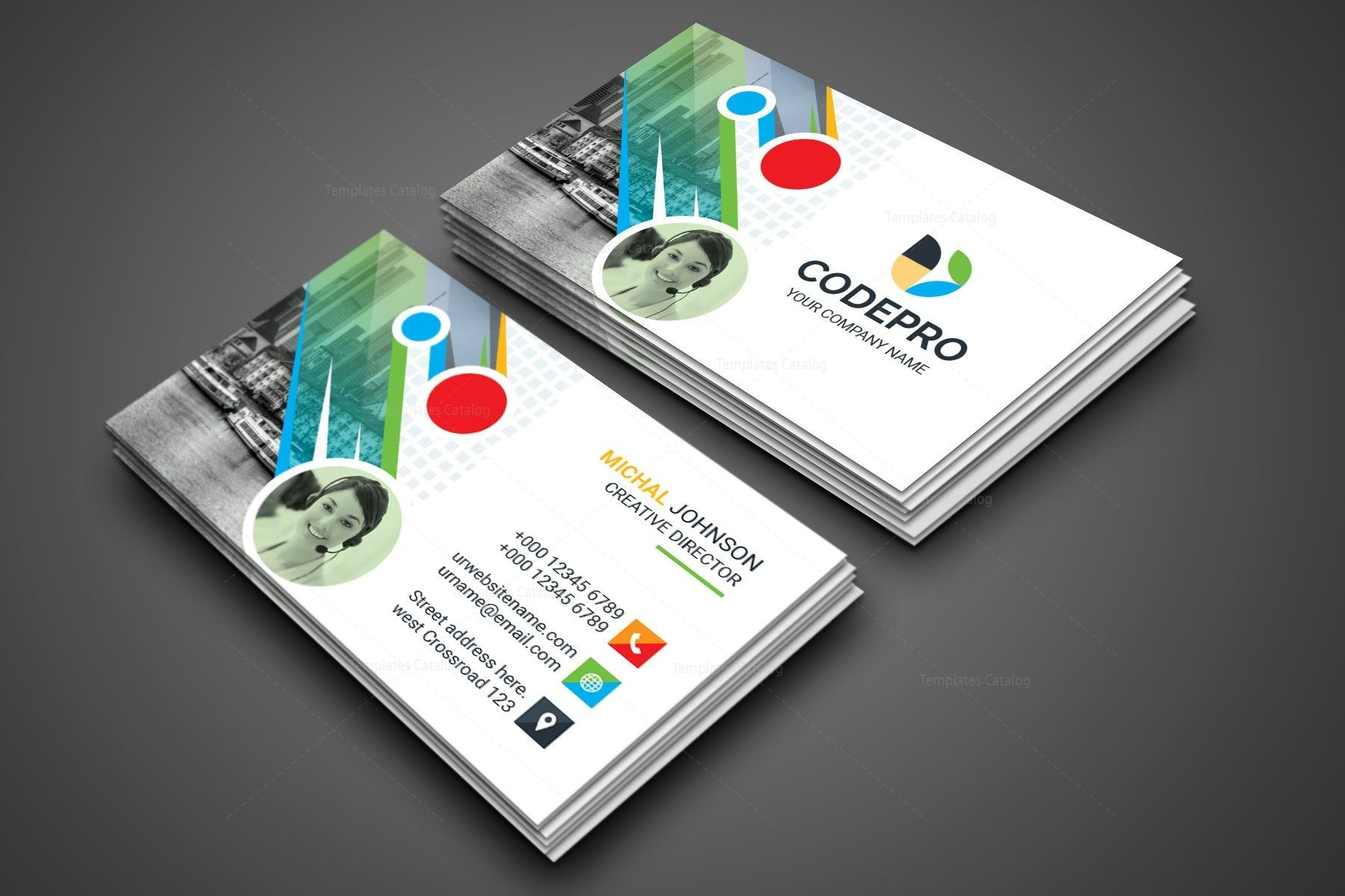 PSD Colorful Business Card | Business cards, Business card ...