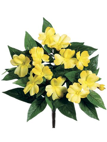 Yellow Gold Impatiens Bush | Artificial Flowers | Afloral.com