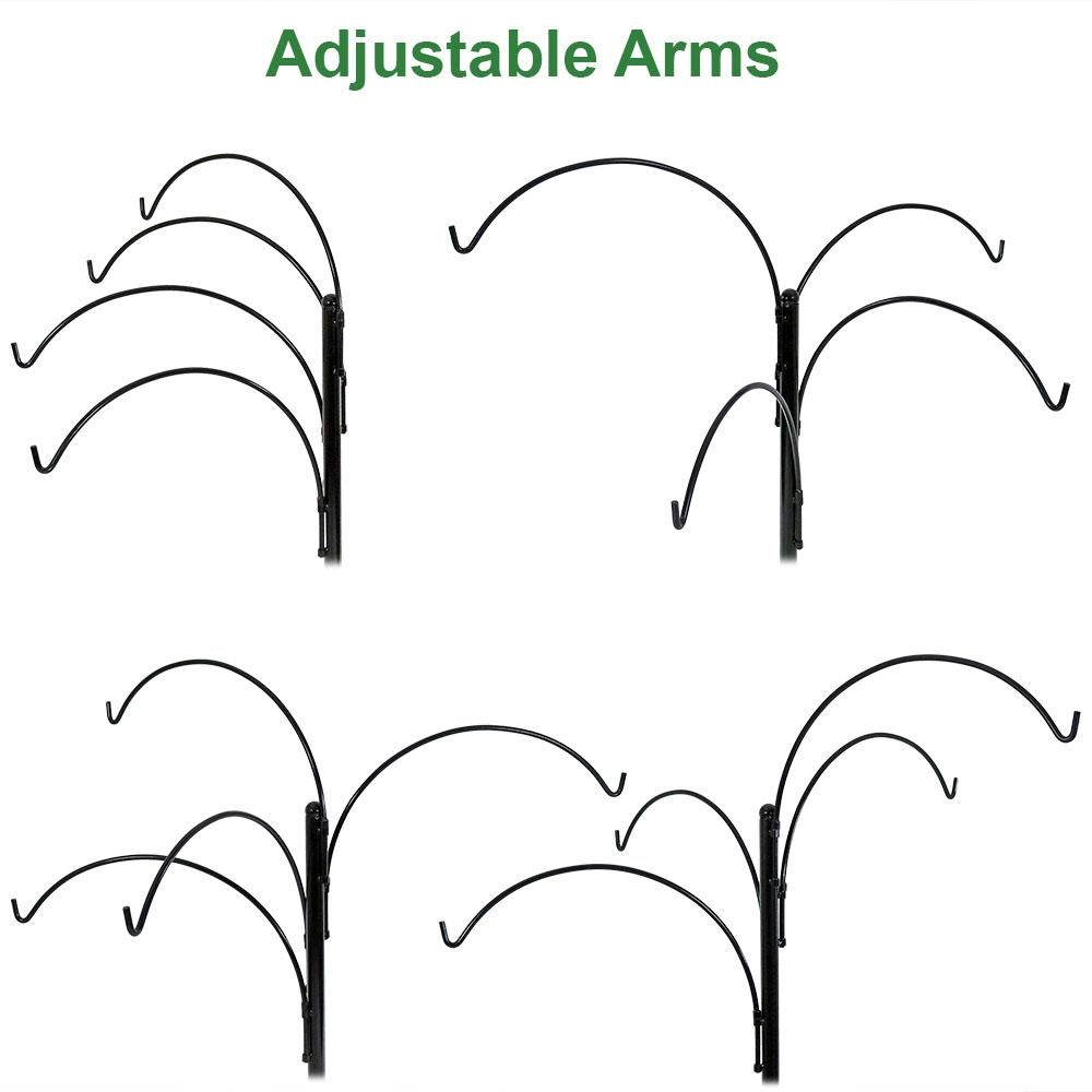 Sunnydaze 4 Arm Hanging Basket Stand with Adjustable Arms 84 Inch Tall