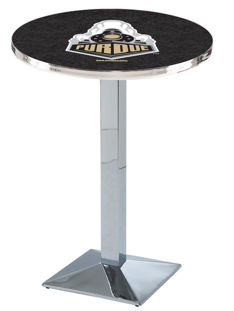 Purdue University Round Pub Table With Chrome Base