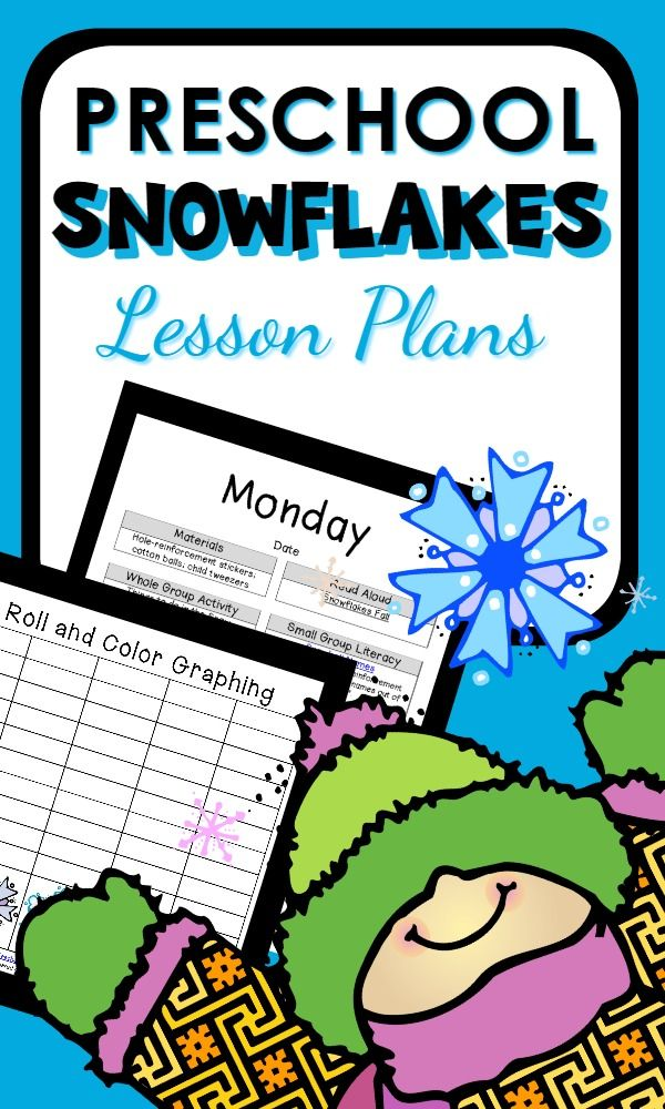 Preschool Snowflake Theme-Over 30 activity ideas with week long - resume lesson plan