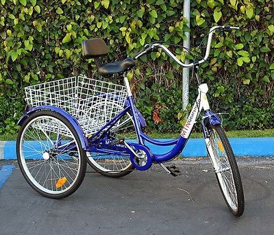 "New 24"" Adult 3-Wheel Tricycle Bicycle 6-Speed Trike Cruise Bike W/ Basket -Blue"