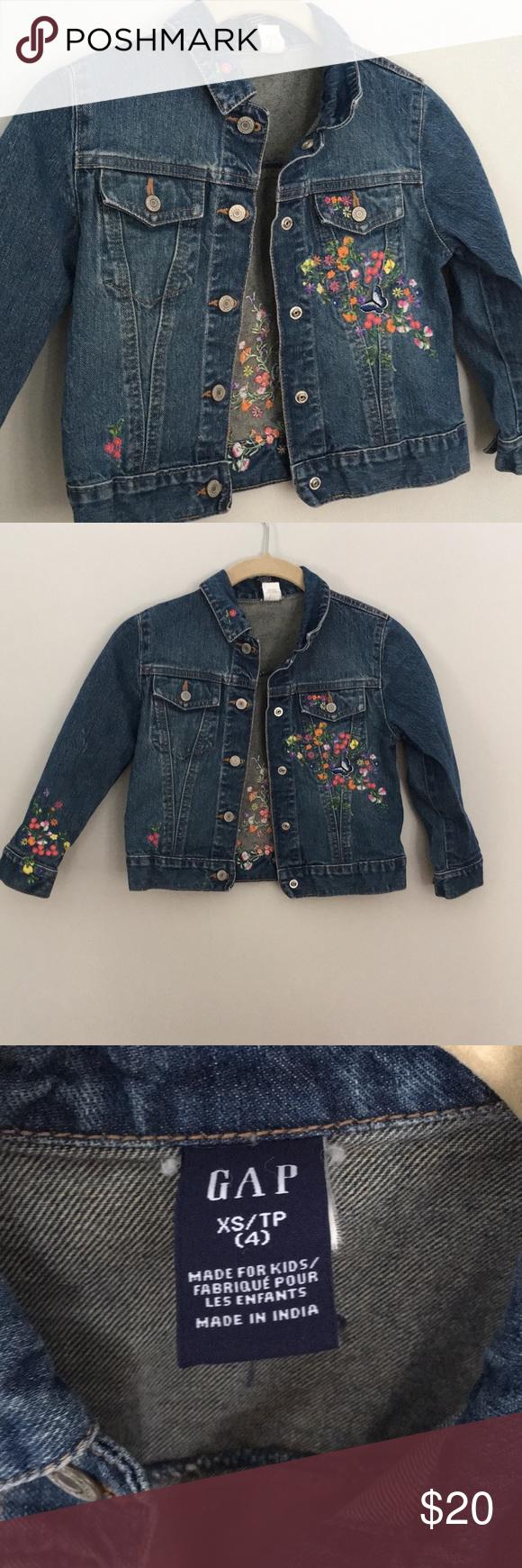 Gap Kids Denim Jacket W Floral Embroidery Kids Denim Jacket Kids Jeans Jacket Denim Jacket [ 1740 x 580 Pixel ]