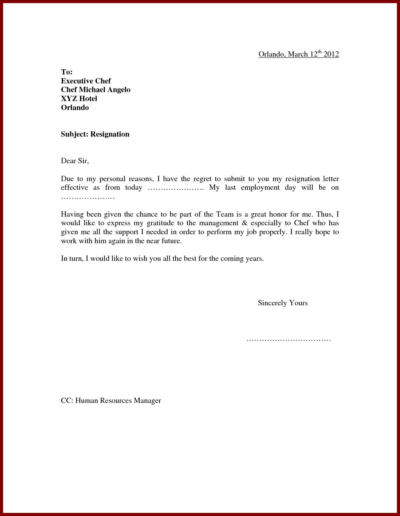 Best Refrence New Resign Letter Due to Personal Reasons By
