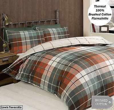 100 Brushed Cotton Flannelette Reversible Duvet Quilt Cover Bedding Ebay Cotton Bedding Sets Duvet Covers Brushed Cotton Bedding