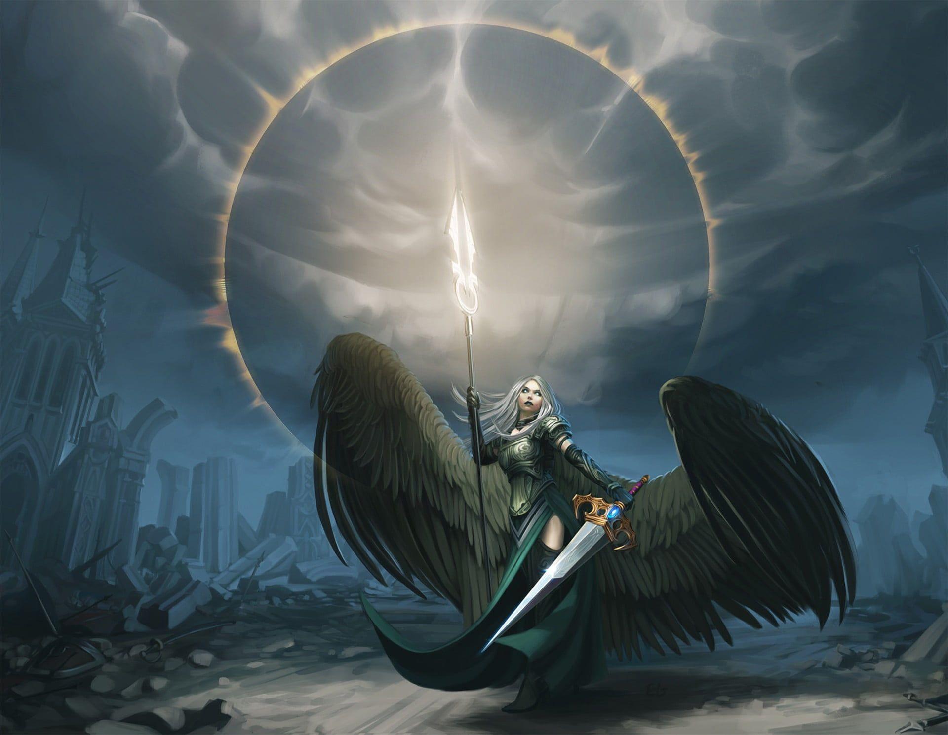 Woman With Wings Holding Sword Digital Wallpaper Angel Fantasy Art Artwork Magic The Gathering 1080p Wal In 2021 Angel Of Vengeance Fantasy Art Fantasy Art Angels