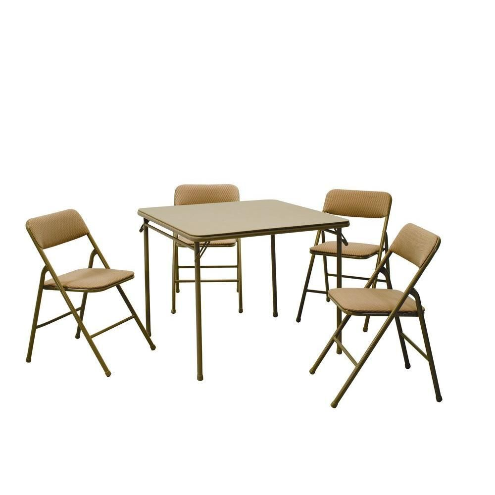 Cosco 5 Piece Beige Mist Portable Folding Card Table Set 14551whd The Home Depot Table And Chair Sets Card Table And Chairs Best Folding Chairs