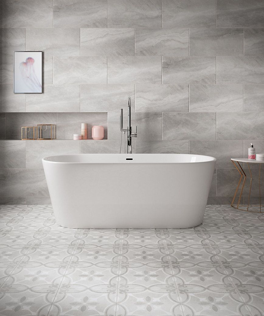 Perla Feature Stone Effect Fleur De Lis Ceramic Wall Floor Tile