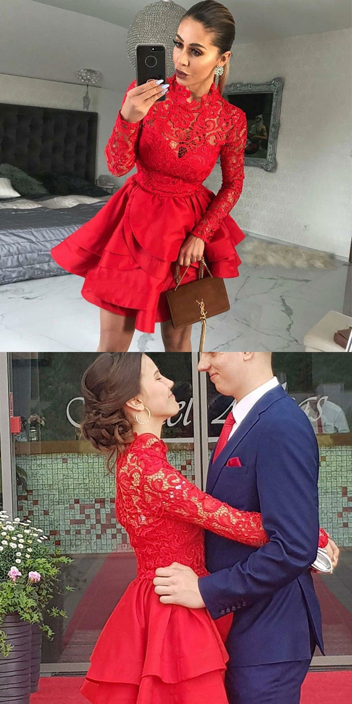 7395cc0b64f A-Line High Neck Long Sleeves Red Satin Homecoming Dress with Lace