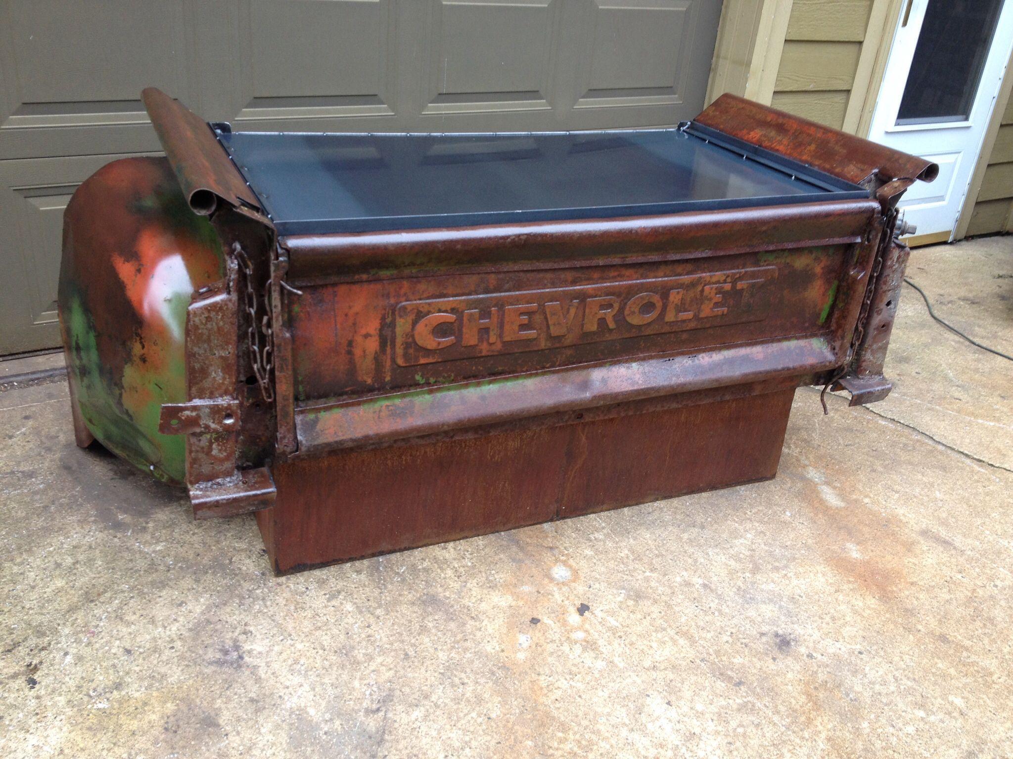Car Desks Back Of A 1950 Chevy Box Now A Desk Relics Awry Pinterest