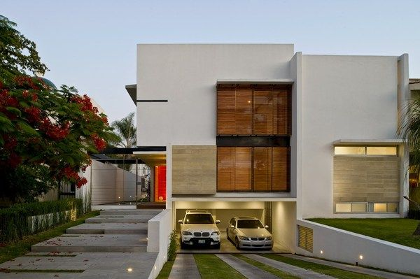 Modern house in mexico garage house plans and white flats for Underground garage plans