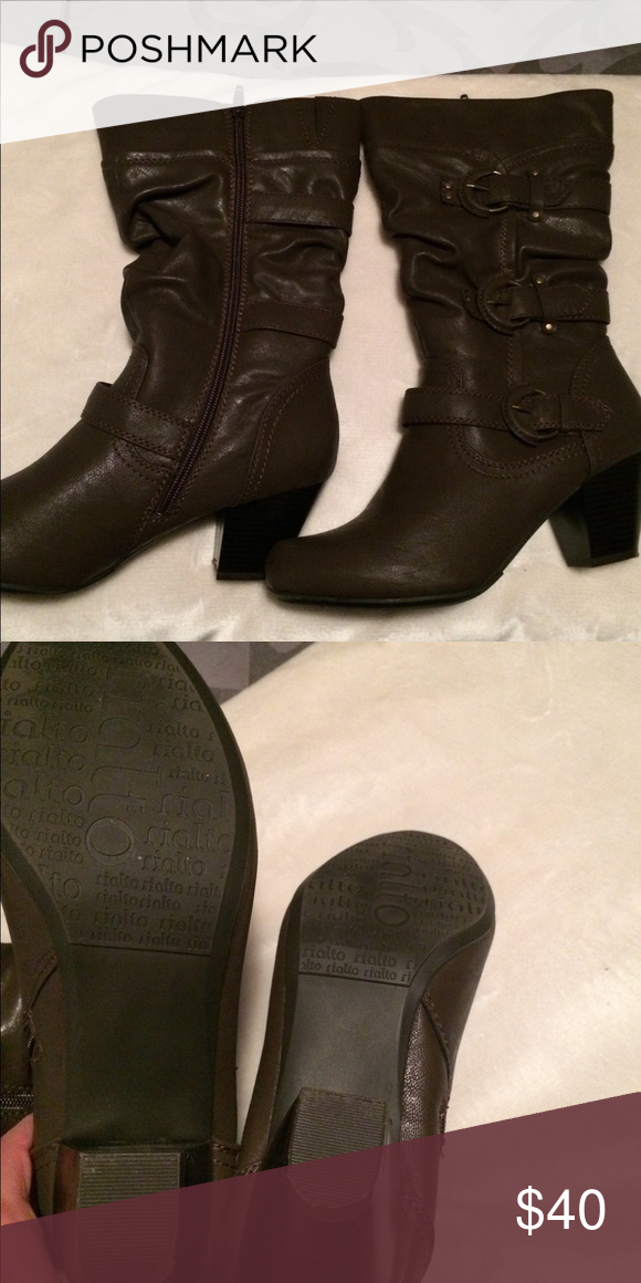 "9cfd8bd73d0 Women s Rialto boots size 9 M Gorgeous women s size 9M Rialto boots. Worn  one time. Brown In color 2"" heel. Rialto Shoes Heeled Boots"