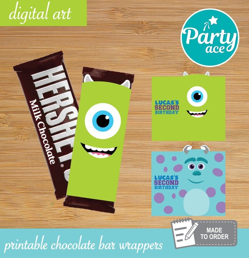 Monsters Inc Printable Chocolate Bar Wrappers Birthday Party Decoration Mike and Sully