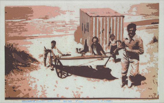 «Les archives de Monsieur X», Souvenirs de jeunesse de papa 2004-2005, 61 x 39 cm, collage sur transparents espacé