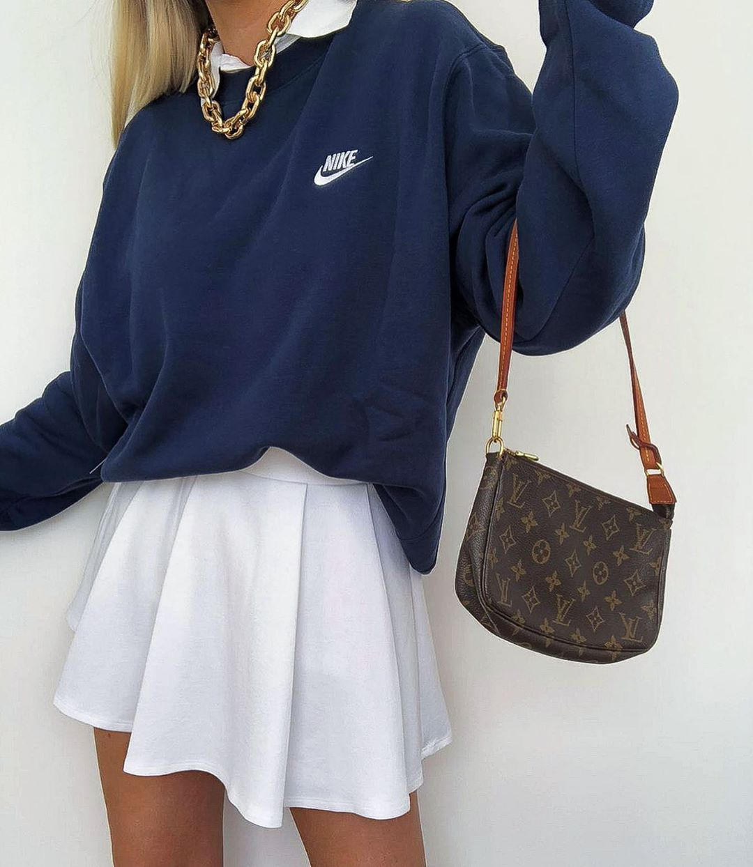 Instagram Outfit White Tennis Skirt With Navy Vintage Nike Sweatshirt Outfit Louis Vuitton Poch In 2020 Tennis Skirt Outfit Fashion Inspo Outfits Cute Casual Outfits