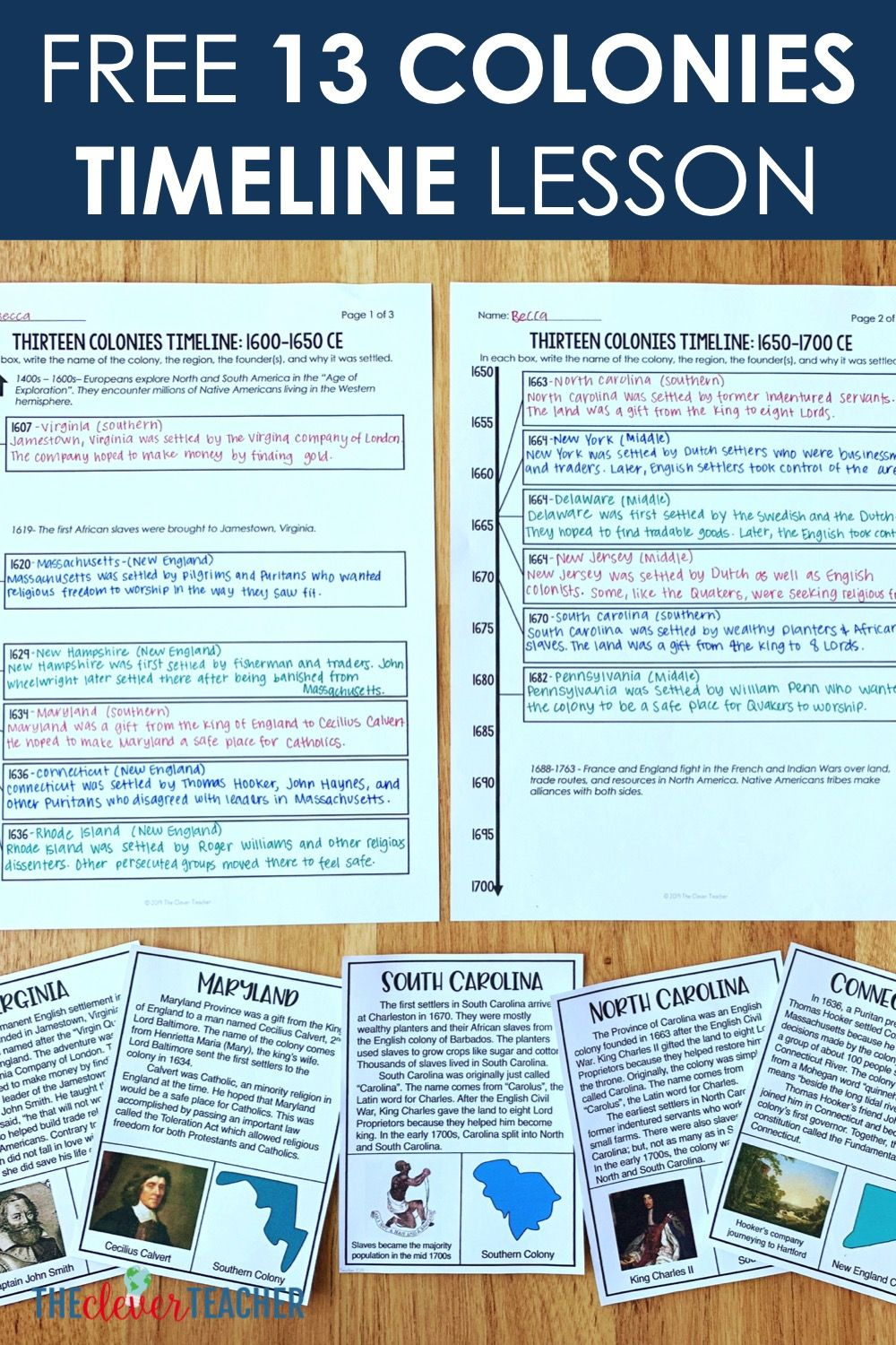 medium resolution of Free 13 Colonies Timeline Lesson   Education middle school