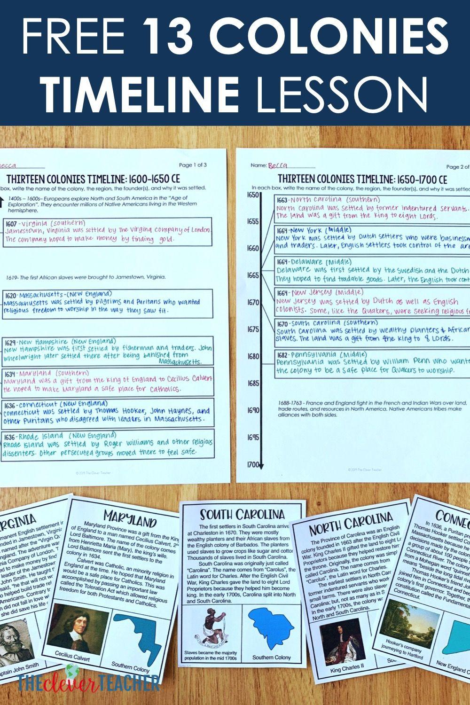 Free 13 Colonies Timeline Lesson   Education middle school [ 1500 x 1000 Pixel ]
