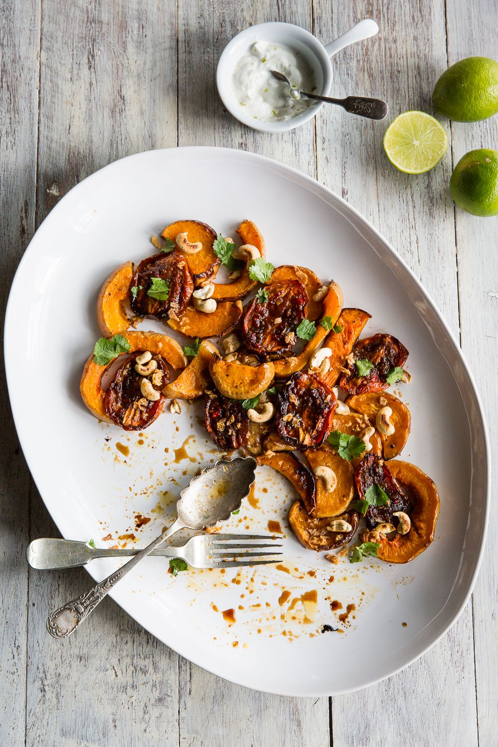 Butternut Squash with Ginger Tomatoes & Lime Yoghurt
