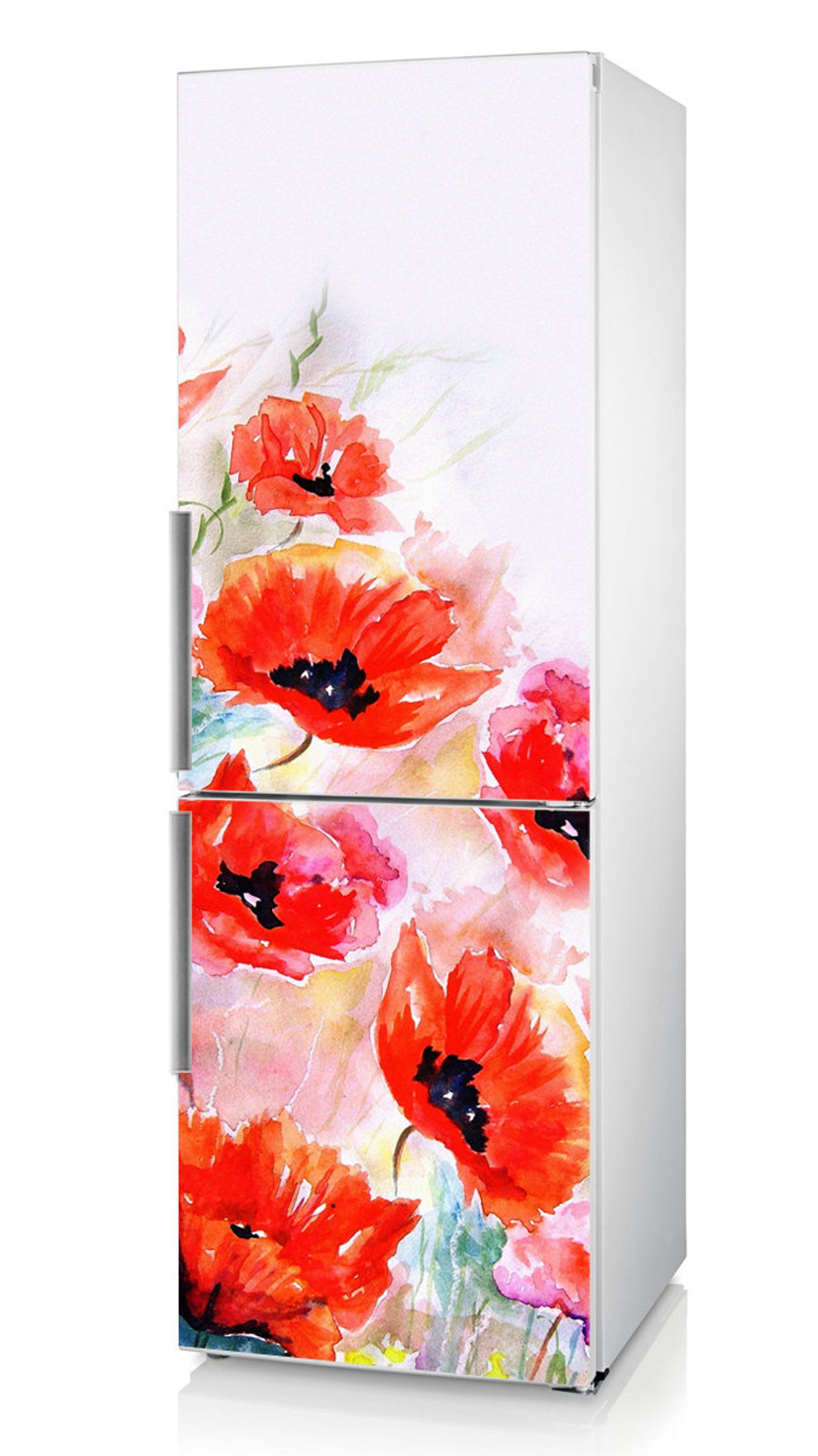 Fridge Vinyl Sticker Red Poppies And Tulips Self Adhesive