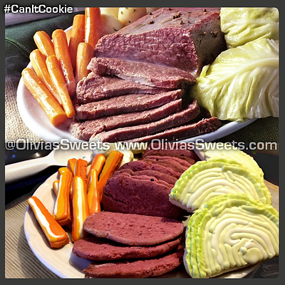 """BUY IT NOW! $39.99 This is the first of our online cookie campaign titled: #CanItCookie? We take different pictures and ideas and see f they can be converted into decorated sugar cookies! This month's inspiration is St. Patrick's Day Corned Beef and Cabbage. Set comes plated on a plastic serving tray and is """"ready to serve,"""" no reheating required. OLIVIA'S - St. Patrick's Day Shop"""