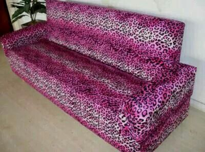 Hot Pink Animal Print Sofa