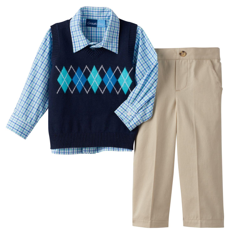 Toddler Boy Great Guy Argyle Sweater Vest, Plaid Shirt &